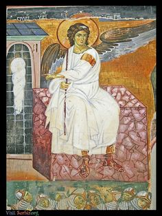 The fresco of the White Angel on the Grave of Christ is a masterpiece of century Serbian and European art. Byzantine Art, Byzantine Icons, I Believe In Angels, Angels Among Us, Historical Monuments, European Paintings, Archangel Michael, Chef D Oeuvre, Orthodox Icons