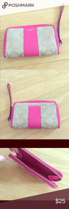 Coach Wristlet Coach Wristlet, pink and tan. Very good condition Coach Bags Clutches & Wristlets