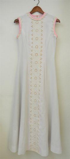 Vintage Dress 70s White Eyelet Pink Trim Mod by PinkCheetahVintage, $40.00