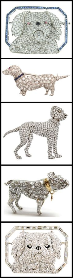 Precious Art Deco puppies: a selection of antique diamond dog brooches from the early 20th century. Featuring pieces by Cartier, Janesich, and more. Via Diamonds in the Library.