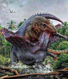 T-Rex vs Spinosaurus Prehistoric Dinosaurs, Prehistoric World, Dinosaur Fossils, Dinosaur Art, Prehistoric Creatures, T Rex Jurassic Park, Jurassic Park World, Spinosaurus, Feathered Dinosaurs