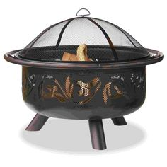 UniFlame Outdoor Fire Bowl with Swirls - Oil Rubbed Bronze Finish - This 36-inch diameter Fire Bowl is wrought-iron with an oil-rubbed bronze finish. This deep bowl allows for large, long-lasting fires and with swirl designed cutouts, the air can easily flow in and out, stoking the flames with ease. Perfect for roasting marshmallows or just staying warm on a cool evening, this UniFlame Fire Bowl is a perfect addition to your patio. Easy to assemble and easy to transport, this Fire Bowl is…