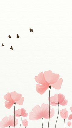 Pink watercolour flowers birds iphone wallpaper background lockscreen