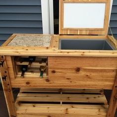 Check out this project on RYOBI Nation - This is an all cedar cooler cart that also has a build in stone cutting board for food prep. The cooler compartment is build right in, (not a coleman cooler). It is insulated and has a drain spout.