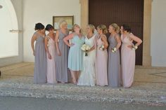My girls. Bridesmaids. Pastel bridesmaids. Mismatch bridesmaid dresses.