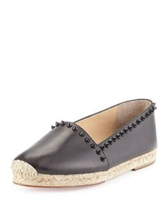 X2NPW Christian Louboutin Ares Leather Red Sole Espadrille, Black