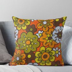 Super soft and durable 100% spun polyester Throw pillow with double-sided print. Cover and filled options. Great retro floral fabric design in fab 70s colors! Orange Throw Pillows, Toss Pillows, Retro Fabric, Floral Fabric, Retro Living Rooms, Retro Bedrooms, Dorm Room, College Room, Orange Furniture