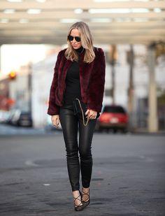 EDITION via BrooklynBlonde.com / @Helena Glazer Faux Fur Jacket: Express EDITION ℅   Leather Pants: Express EDITION ℅   Turtleneck: Vince   Shoes: Gianvito Rossi  Bag: Saint Laurent   Sunglasses: Dior Tuesday, December 1, 2015