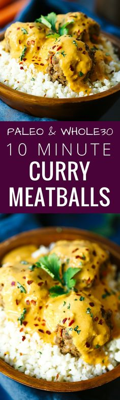Gluten free, paleo friendly, whole30 curry meatballs! Easy whole30 meatballs recipe. Low carb meatballs for your Whole30. Whole 30 meatballs recipe. Healthy curry meatballs recipe. via @themovementmenu paleo dinner meatloaf