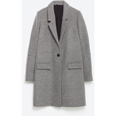 Zara Masculine Coat ($129) ❤ liked on Polyvore featuring outerwear, coats, grey, gray coat, grey coat and zara coat