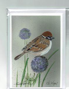 Grüße - Grußkarte - Feldsperling, handgemalt - ein Designerstück von Vogelmalerin bei DaWanda