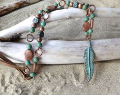Boho Leather Feather Necklace Feather Leather Cord by Strandedsilk