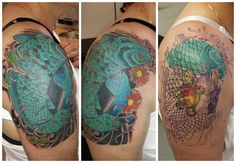 cover up winnie the pooh koi carp cherry blossom tigger flower quarter sleeve blue fish scales windbars Japanese