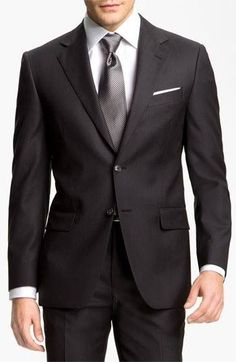 Joseph Abboud 'Signature Silver' Wool Suit available at Fashion Mode, Suit Fashion, Mens Fashion, Groom Fashion, Sharp Dressed Man, Well Dressed Men, Grey Wool Suit, Moda Formal, Mode Costume