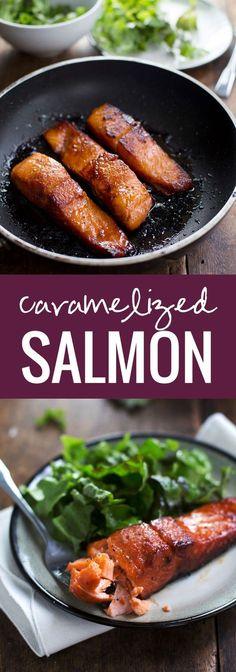Lo acabo de hacer y si esta deliciosos y súper fácil!! Agregado a mis favoritos desde ahora. Caramelized Salmon - Five ingredients. Twenty minutes. Perfect texture. Addicting flavor. Healthy for your bod. Pretty to look at.