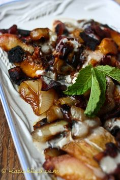 Roasted peach, bacon and onion salad with coconut maple vinaigrette! | KatieDid