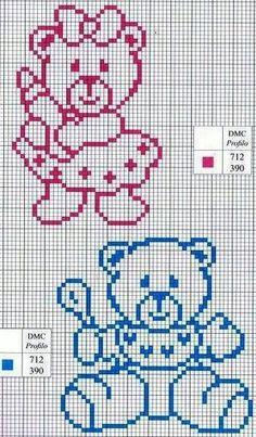 Punto De Cruz World crochet: For children 1 Baby Cross Stitch Patterns, Cross Stitch For Kids, Cross Stitch Baby, Cross Stitch Animals, Cross Stitch Charts, Cross Stitch Designs, Cross Stitching, Cross Stitch Embroidery, Beading Patterns