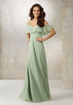 Morilee by Madeline Gardner Bridesmaids Style 21509 | Fluttery Ruffles Drape the Shoulders and Neckline of This Chiffon Bridemaids Dress Creating a Soft Romantic Feel. Zipper Back. Shown in Sage and Navy #bridesmaidgowns