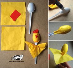 Simple dolls from spoonsCooking spoons for incredible plastic spoon craft projects for funplastové lžíce-řemesla-projekty-pro-zábavaHome Kids Crafts, Easy Easter Crafts, Animal Crafts For Kids, Preschool Crafts, Diy For Kids, Craft Projects, Craft Ideas, Plastic Spoon Crafts, Wooden Spoon Crafts