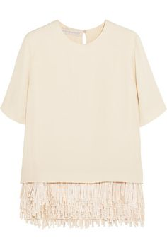 STELLA MCCARTNEY Honore Fringed Crepe Top. #stellamccartney #cloth #tops