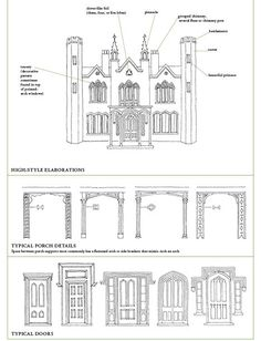 Gothic Revival Details Including Elaborations Porches And Doors