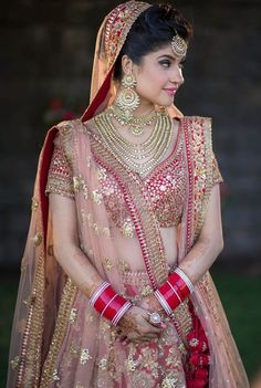 Looking for Red bridal lehenga with gold sequin work? Browse of latest bridal photos, lehenga & jewelry designs, decor ideas, etc. Indian Bridal Outfits, Indian Bridal Lehenga, Indian Bridal Fashion, Indian Bridal Makeup, Indian Bridal Wear, Indian Dresses, Bridal Dresses, Indian Wedding Sari, Wedding Lehnga