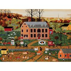 Challenging, highly engaging 1000 piece jigsaw puzzle by Joseph Holodook features a detailed depiction of the busy, beautiful Pig And Pumpkin Inn! 1000 Piece Jigsaw Puzzles, Folk Art, Joseph, Pumpkin, Mansions, House Styles, Artist, Painting, Landscapes