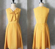 MADELINE - MUSTARD Yellow scarf neck tie dress// retro // vintage inspired // pleated skirt // bridesmaid dress // garden // mod. $68.00, via Etsy.
