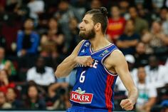 Antoine Diot of France reacts during the 2016 FIBA Olympic Qualifying tournament final match between...