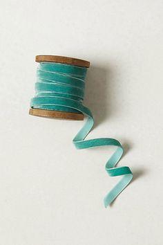 Blue green velvet ribbon from Anthropologie $10.00