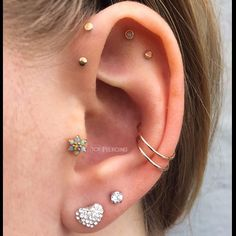 """""""Healed Conch Piercings by @101bradlee 14k Rose Gold Jewelry from @bvla On the lovely @madisenkahlee #101piercing #bodyvision #loveleucadia…"""""""