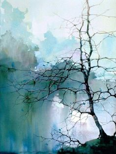 Tree branches in misty blue sky and clouds. Easy Watercolor Painting Ideas for Beginners #watercolorarts #LandscapingWatercolor