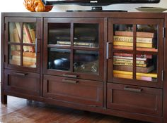 Pier 1 Sausalito Media Stand is serious about durability with its solid wood construction and straightforward style