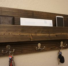 Rustic Entryway Mail Key Organizer by KeoDecor on Etsy