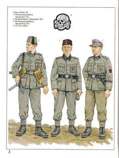 Ethnic Waffen SS:  1: SS-Sturmbannführer, 'Handschar' Div.;  2: SS-Scharführer, 'Handschar' Div.;  1: SS-Hauptsturmführer, 'Skanderberg' Div.;  1: SS-cap insignia.