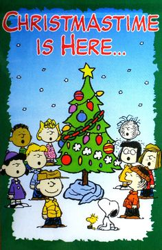 christmastime is herehark the herald angels sing glory to the christmas snoopycharlie brown