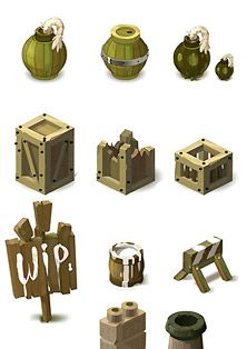 Wakfu MMORPG - background isometric pictos (2)