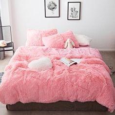Fluffy Velvet Fleece Quilt Cover Bed Set (4/6/7 pcs) - Pink
