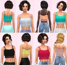 Lace crop top by anni1104 at Sims Marktplatz via Sims 4 Updates: