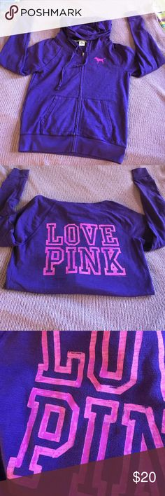 Victoria's Secret Full-Zip Logo Hooded Sweatshirt Worn 3-4 times total. Deep purple color with pinkish-purple LOVE PINK logo on the back and VS dog on top left. Cotton/polyester. No cosmetic damages. Loved it but it doesn't fit me anymore! PINK Victoria's Secret Tops Sweatshirts & Hoodies