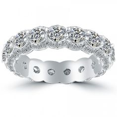 3.15 Carat Round Diamond Pave Eternity Wedding Band Anniversary Ring 18k Gold