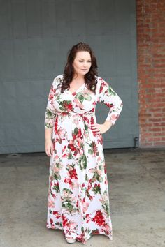 $42.99 A Touch of Rose Maxi in Red - Be Inspired Boutique