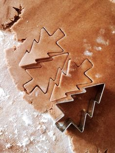Gingerbread cookies shaped like Christmas trees