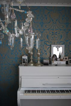 White piano, wallpaper & crystal. (Fairy & Mary & Eiffel Tower too)!