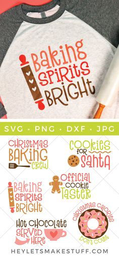 Christmas Baking SVG Bundle Getting ready to bake this Christmas season? Or are you the official Christmas cookie tester? This set of six adorable Christmas baking SVG files are a delicious way to celebrate everyone's favorite baking season! Christmas Svg, Christmas Quotes, Christmas Shirts, Christmas Projects, Christmas Baking, Christmas Cookies, Holiday Crafts, Christmas Decorations, Christmas Pictures