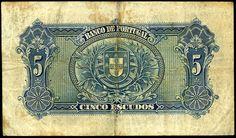 Nota de 5 Escudos datada de 13 de Janeiro de 1925