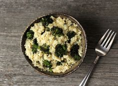 Quinoa, roasted broccoli and cheese~  the healthier more sophisticated version of canned  broccoli cheese soup, Velveeta and pasta bake!  HA!