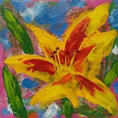 """Daylily Bonanza"" (acrylic on 8x8 canvas panel with palette knife) - J. Travis Duncan. http://2-john-duncan.artistwebsites.com/featured/daylily-bonanza-j-travis-duncan.html"