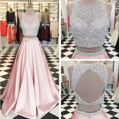 Pink Satin Two Piece Prom Dresses Ball Gowns Keyhole Back Evening Dress,Two Piece Top Sequin A Line Long Satin Formal Elegant Pink Prom Dress Evening Dress Sequin Prom Dresses, Cute Prom Dresses, Beaded Prom Dress, Ball Gowns Prom, Beautiful Prom Dresses, Dresses For Teens, Ball Dresses, Homecoming Dresses, Formal Dresses