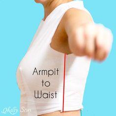 Axila a la medición de la cintura - Melly Sews
